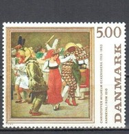 ART PAINTING GEMÄLDE LA PEINTURE ECKERSBERG CARNIVAL IN ROME DENMARK1984 MNH MI 819 Dance Danse Tanzen Folklore - Modern