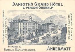 Suisse - Carte Publicitaire,  ANDERMATT, Danioth's Grand Hotel & Pension - Carton Publicitaire 13 X 9 Cms - UR Uri