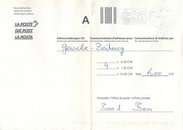 """Postform 212.40  """"Adressmeldungen Für ...""""  Reussbühl - Bern         2000 - Suisse"""