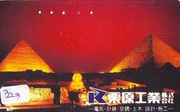 Télécarte Japon Egypte (323) SPHINX * PYRAMIDE * TELEFONKARTE EGYPT Related - Ägypten Phonecard Japan * - Paysages