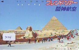 Télécarte Japon Egypte (324) SPHINX * PYRAMIDE * TELEFONKARTE EGYPT Related - Ägypten Phonecard Japan * - Paysages