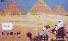Télécarte Japon Egypte (325) SPHINX * PYRAMIDE * TELEFONKARTE EGYPT Related * CAMEL *  Ägypten Phonecard Japan * - Paysages