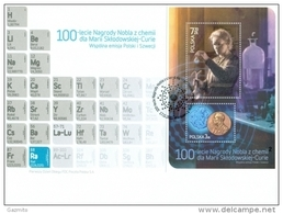 Poland 2011, 100th Anniversary Of The Chemistry Nobel Prize For Marie Curie, Joint With Sweeden, FDC - FDC