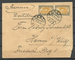 Estland Estonia 1921 Cover To Germany Hamm Michel 12 Y As A Pair - Estonie