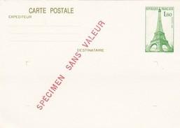 FRANCE - CP SPECIMEN TOUR EIFFEL1.60   1982 / 6971 - Enteros Postales