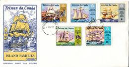 Tristan Da Cunha FDC 1-11-1971 Island Families Complete Set Of 5 With Cachet - Tristan Da Cunha