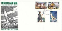 Tristan Da Cunha FDC 1-6-1972 Longboats Complete Set Of 4 With Cachet - Tristan Da Cunha