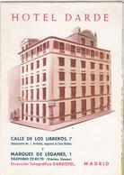 Rare Dépliant De L'hôtel Darde à Madrid Années 50 - Tourism Brochures