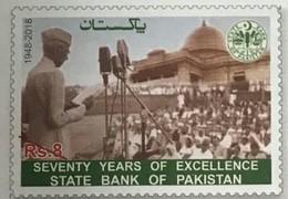 PAKISTAN 2018 - 70 Years Of Excellence, State Bank Of Pakistan, Quaid-e-Azam Jinnah Addressing, 1v MNH - Pakistan