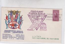FIRST FLIGHT. TRANSPORTES AEREOS CENTRO AMERIANOS TACA. COSTA RICA-NICARAGUA-HONDURAS-EL SALVADOR-CUBA.USA 1943- BLEUP - Costa Rica