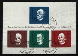 BUND - Block Mi-Nr. 4 - 1. Todestag Von Konrad Adenauer Gestempelt PLZ 8903 - BRD