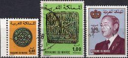 MAROCCO 1976/1983 - ANTICHE MONETE + RE HASSAN II - 3 VALORI USATI - Marocco (1956-...)