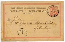 Germany 1881 10pf Postal Card, Mainz To Gothenburg, Sweden - Entiers Postaux