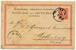 Germany 1880 10pf Postal Card, Mainz To Gothenburg, Sweden - Entiers Postaux