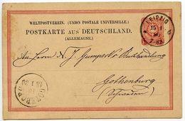 Germany 1880 10pf Postal Card, Leipzig To Gothenburg, Sweden - Germany