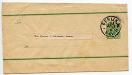 Germany 1889 3pf Wrapper, Berlin To Bremen - Entiers Postaux