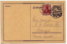 Germany 1922 Uprated Postal Card, Cassel To Göttingen - Germany