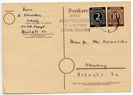 Germany 1940's Uprated Postal Card, Hamburg Slogan Postmark - American,British And Russian Zone