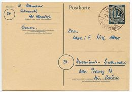 Germany 1946 12pf Postal Card, Ihlienworth To Wesermünde - Zone AAS