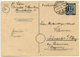 Germany 1946 12pf Postal Card, Reinbek To Schnaitsee - American,British And Russian Zone