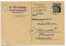 Germany 1947 12pf Postal Card Hamburg Slogan Postmark - American,British And Russian Zone