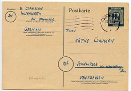 Germany 1946 12pf Postal Card, Hamburg To Schnaitsee - Zone AAS