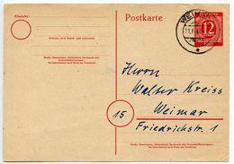 Germany 1947 12pf Postal Card, Weimar Postmark - American,British And Russian Zone