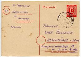 Germany 1946 12pf Postal Card, Ihlienworth To Wesermünde - Amerikaanse, Britse-en Russische Zone