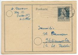 Germany 1947 12pf Stephan Postal Card, Hamburg To Ihlienworth - American,British And Russian Zone