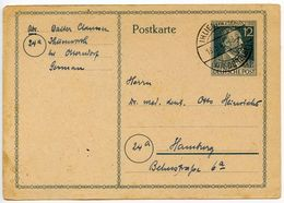 Germany 1947 12pf Stephan Postal Card, Ihlienworth To Hamburg - Amerikaanse, Britse-en Russische Zone