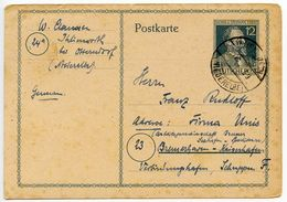 Germany 1947 12pf Stephan Postal Card, Ihlienworth To Bremerhaven - Zone AAS