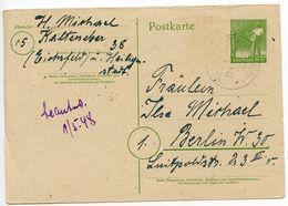 Germany 1948 10pf. Sower Postal Card, Heiligenstadt To Berlin - [7] Federal Republic
