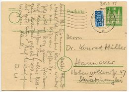 Germany 1951 10pf. Postal Card W/ Postal Tax Stamp, Göttingen Postmark - [7] Federal Republic