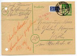 Germany 1949 10pf. Postal Card W/ Postal Tax Stamp, Bad Mergentheim Postmark - [7] Federal Republic