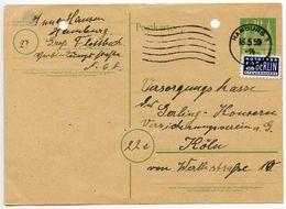 Germany 1950 10pf. Postal Card W/ Postal Tax Stamp, Hamburg Postmark - [7] Federal Republic