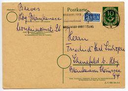 Germany, West 1953 10pf Posthorn Postal Card W/ Postal Tax Stamp, Hamburg Postmark - [7] Federal Republic