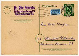 Germany, West 1954 10pf Postal Card W/ Postal Tax Stamp, Hamburg Postmark - [7] Federal Republic