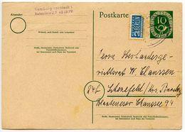 Germany, West 1954 10pf Posthorn Postal Card W/ Postal Tax Stamp - [7] Federal Republic