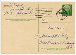 Germany, West 1957 10pf Heuss Postal Card Hamburg Postmark - [7] Federal Republic
