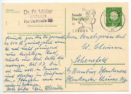 Germany, West 1960 10pf Huess Postal Card Bremen Slogan Postmark - [7] Federal Republic