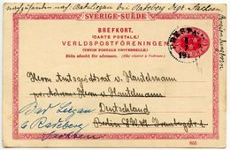 Sweden 1910's 10o. Crowns Postal Card Mailed To Germany - Postal Stationery