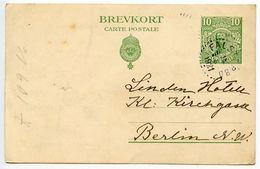 Sweden 1921 10o. Gustaf V Postal Card Falster Bro To Berlin, Germany - Postal Stationery