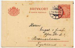 Sweden 1916 10o. Gustaf V Postal Card Malmö To Bremerhaven, Germany - Postal Stationery