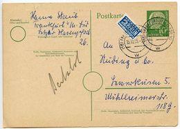 Germany, West 1955 10pf. Postal Card W/ Notopfer, Frankfurt To Leverkusen - [7] Federal Republic