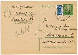 Germany, West 1955 10pf. Postal Card W/ Notopfer, Walldorf To Leverkusen - [7] Federal Republic