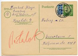 Germany, West 1955 10pf. Postal Card W/ Notopfer, Bermbach To Leverkusen - [7] Federal Republic