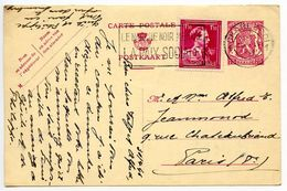 Belgium 1946 75c. Arms Uprated Postal Card Charleori To Paris, France - Postcards [1934-51]