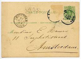 Belgium 1884 5c. Lion Postal Card Gand To Amsterdam, Netherlands - Stamped Stationery