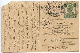 India 1945 9p. KGVI Postal Card To Calcutta, Inland Censorship Handstamp - 1936-47 King George VI