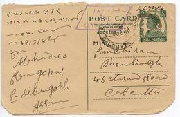 India 1944 9p. KGVI Postal Card To Calcutta, Inland Censorship Handstamp - 1936-47 King George VI